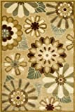 Central Oriental 8717BG58 Fusion Funky Flower Beige 5-Feet by 7-Feet 7-Inch Area Rug