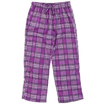 Purple Plaid Fleece Pajama Pants for Women XL