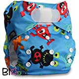 LittleBloom, Reusable Pocket Cloth Nappy, Fastener: Velcro, Set of 1, Pattern 22, Without Insert, Little Alien