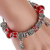 The Starry Night Tibetan Style Heart Pendant Love Red DIY Beaded Women Bracelet