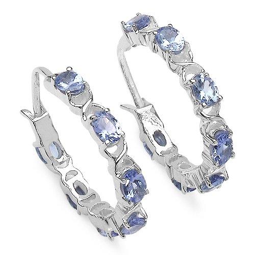 2.24 Carat Genuine Tanzanite Sterling Silver Earrings