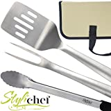 Heavy Duty Professional-Grade Stainless Steel 3-Piece BBQ Tool Set, Long Handles, Locking Tongs with Storage Case