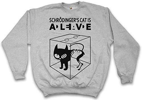 SCHRÖDINGERŽS CAT IS ALIVE DEAD I PULLOVER SWEATER SWEATSHIRT MAGLIONE - gatto The Big Schroedinger chat TV Bang Theory Geek Nerd Taglie S - 5XL
