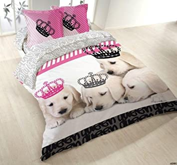 housse de couette 100 coton coton 220x240 2 taies dogs kingdom cuisine kingdom. Black Bedroom Furniture Sets. Home Design Ideas