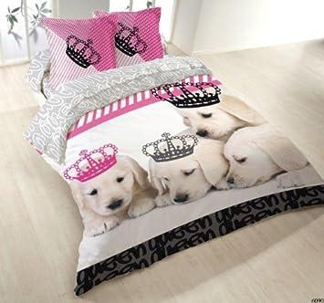 housse de couette 100 coton coton 220x240 2 taies dogs kingdom cuisine kingdom. Black Bedroom Furniture Sets. Home Design Ideas