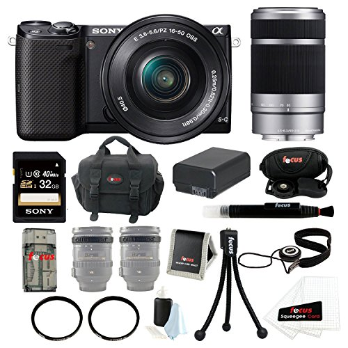 Sony Alpha Nex-5T Nex-5Tl/B Camera With 16-50Mm Lens Bundle + Sony Sel55210 55-210Mm F4.5-6.3 Telephoto Lens + Sony 32Gb Sd Card + Sony Large Case + Additonal Battery For Np-Fw50 + Tiffen 40.5Mm And 49Mm Uv Protector Filters + Accessory Kit