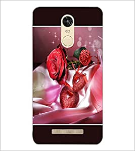 PrintDhaba Rose and Hearts D-1346 Back Case Cover for XIAOMI REDMI NOTE 3 PRO (Multi-Coloured)