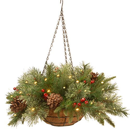 Hanging Basket with Cones, Red Berries and Lights