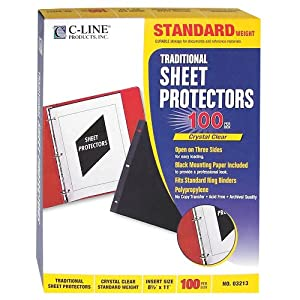 C-Line Traditional Standard Weight Poly Sheet Protectors, Clear, 8.5 x 11 Inches, 100 per Box (03213)