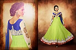 Aayushman Womens Faux Georgette Angrakha Semi-Stitched Dress Material (Bsd34334 _Blue & Lime Green)