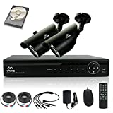 [TRUE 960p ProHD] SMART CCTV System, KARE 1080N DVR Recorder with 2x Super HD 1.3MP Outdoor Cameras and 1TB Pre-installed Hard Drive Disk (P2P Technology, 1280x960 Bullet Cam Even Better Than 720P, Rapid USB Storage Backup, Vandal and Water-Proof Body, Night Vision, Mobile App: Xmeye)