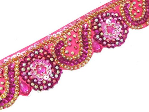 Multicolor Hand Beaded Gold Pink Stone Sequin 1.5 Yard