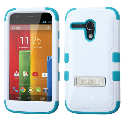 Thousand Eight(Tm) For Motorola Moto G Heavy Duty Defender Tuff Hybrid Hard Case With Stand Case + [Free Lcd Screen Protector Shield(Ultra Clear)+Touch Screen Stylus] (Hybrid Stand Ivory White/Tropical Teal)