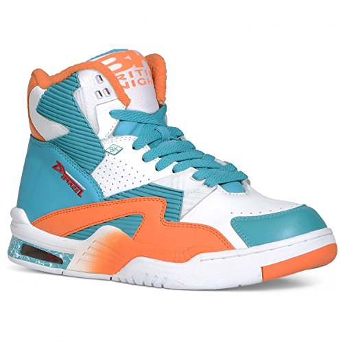 British Knights Men's Hightop Sneaker, White/Sour Blue/S Orange, 10.5 M US
