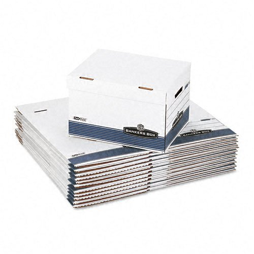Bankers Box STOR//FILE Storage Box Letter Button Tie White//Blue 12//Carton 00704