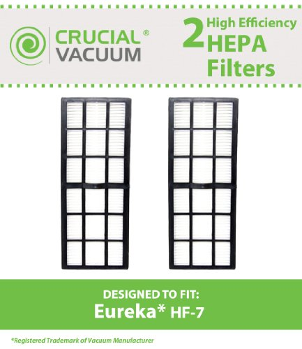 2 Eureka HF-7 HEPA Filters, Designed To Fit Eureka HF-7 (HF-7) Series Uprights, Compare To Part # 61850, 61850A, 61850B, Designed & Engineered By Crucial Vacuum (Eureka Vacuum Hf7 Filter compare prices)
