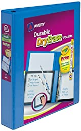 Avery View Binder with Dry Erase Pocket and Crayola Dry Erase Colored Pencils, 1.5 inch Slant Ring, Blue (17985)
