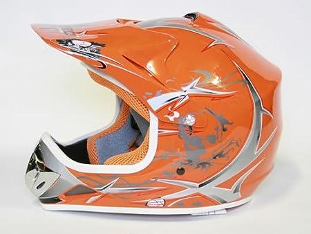 Casque Sport Moto Cross Dirtbike (XL - 57-58 cm, Orange)