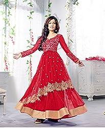 Red and golden lece anarkali dress material