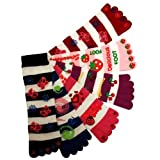 Butterfly Berry Cherries Lady Bug 6 Pack Toe Socks