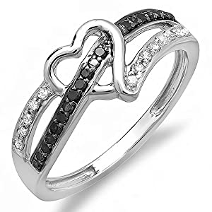 0.20 Carat (ctw) 10k White Gold Round Black and White Diamond Ladies Promise Heart Love Engagement Ring 1/5 CT (Size 7)