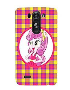 Fuson Pink Yellow Check Pattern Girl Back Case Cover for LG G3 BEAT D722K - D4115