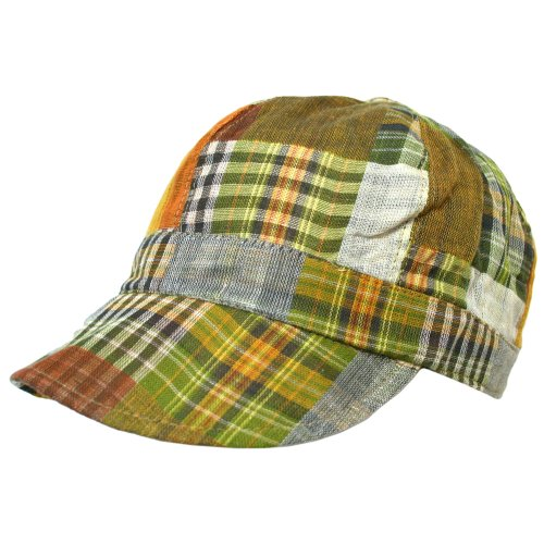 Green Multicolor Plaid Lightweight Newsboy Cap Hat