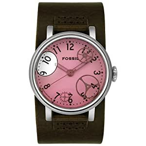 Fossil Ladies Genuine Brown Leather Strap Watch With Pink Water Dial