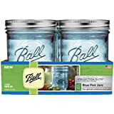 Ball Wide Mouth Elite Collection Pint Jars (4 Pack), Blue