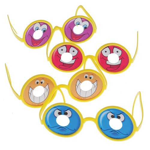 Dozen Assorted Child Size Smile Goofy Face Glasses