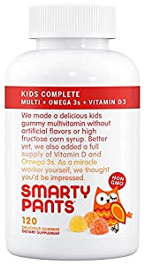 SmartyPants Kids Complete Gummy Vitamins: Multivitamin, Vitamin D3, B12 (Methylcobalamin), & Omega 3 DHA / EPA Fish Oil, 120 count (30 Day Supply)