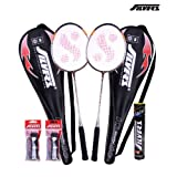 Silver's Kinetic 2 Rackets, 1 Box C Marvel, 2 PVC Grip Badminton Racquet (Black/Red)