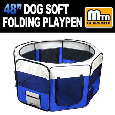 "New Deluxe 48"" Pet Dog Xl Playpen Kennel Exercise Pen Crate Carrying Bag (Blue)"
