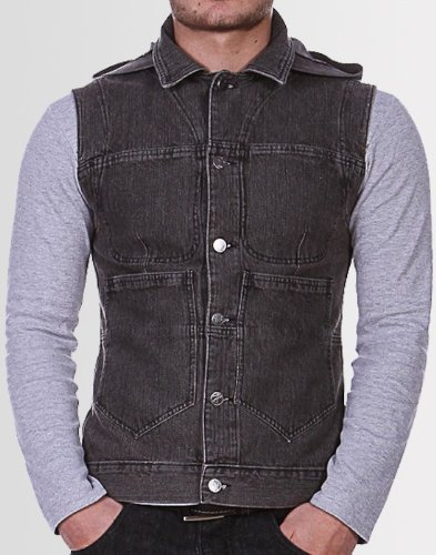 Kear and Ku Mens Hooded Gilet : Grey Acid - M
