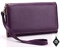 Google Nexus 4 Wallet Purple Clutch Carrying Cover Case Pouch + NuVur ™ Keychain (ESMXWLU1)