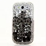 3D Luxury Swarovski Crystal Sparkle Diamond Bling Grey Black Cross Design Case Cover for Samsung Galaxy S4 S 4 IV i9500 fits Verizon, AT&T, T-mobile, Sprint and other Carriers (Handcrafted by BlingAngels®)