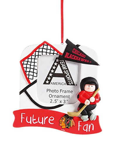 Chicago Blackhawks Official NHL 5.25 inch x 5 inch x 2.5 inch Future Fan Photo Frame Christmas Ornament