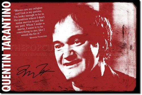 Quentin Tarantino: Poster Fotografico (Con replica di Autografo). Rara Stampa Artistica Idea Regalo 30x20cm Cartellone