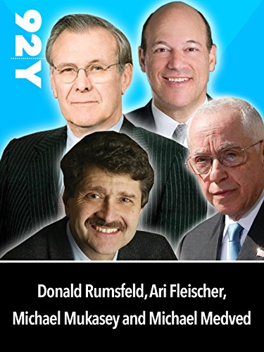 Donald Rumsfeld with Ari Fleisher, Michael Mukasey, and Michael Medved