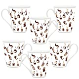 HomeSoGood Make Coffee This Way White Ceramic Latte Coffee Mug- 355 Ml (Set Of 6)
