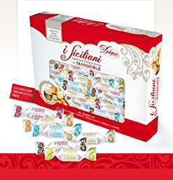 I Siciliani 17.6oz (500g.) Soft Almond Torrone Nougat Covered in variety flavors of chocolate bite size Individually wrapped Assorted Mix in a nice Gift box approx. 40-42 pieces made in Sicily.**NO PRESERVATIVES & GLUTEN FREE ** You won\'t be disappointed