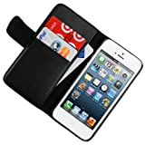 CellJoy Leather Wallet Credit Card Hard Kick Stand Case for Apple iPhone 5 5G 6th Generation (At&t / Sprint / Verizon / Unlocked) [CellJoy Retail Packaging] (Black) Reviews