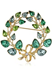"Napier ""Giftable"" Gold-Tone and Green Wreath Pin"