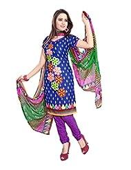 RapidDukan Un-Stitched Blue Color Straight Salwar Suit - B015WK0LBK