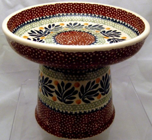 Polish Pottery Raised Stoneware Food Dish or Water Bowl  - Jungle Fever