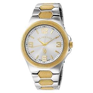 U.S. Polo Assn. Classic Men's USC80002 Rimmed Bezel Silver Dial Link Watch