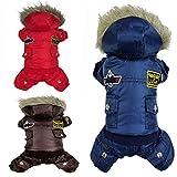 Hund-Mantel-Jacke Warm Winter USA AIR FORCE Wasserdicht hoody Kleidung (Blau M) -