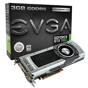 EVGA GeForce GTX 780 Ti, 3GB, 3072MB,GDDR5 384bit, Dual-Link DVI-I, DVI-D, HDMI,DP, SLI Ready Graphics Card (03G-P4-2881-KR) Graphics Cards 03G-P4-2881-KR