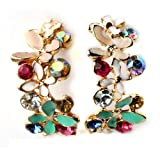 Change Sweety Lady Girl Butterfly Loving Flower Rhinestone Earring Stud Fashion Style