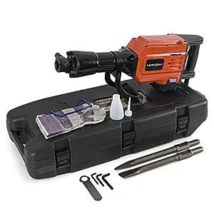 Industrial Grade Power Tools 2200W 1900RPM Electric Demolition JackHammer Drill 2 Piece Concrete Bits + Chisel W/ Wheels